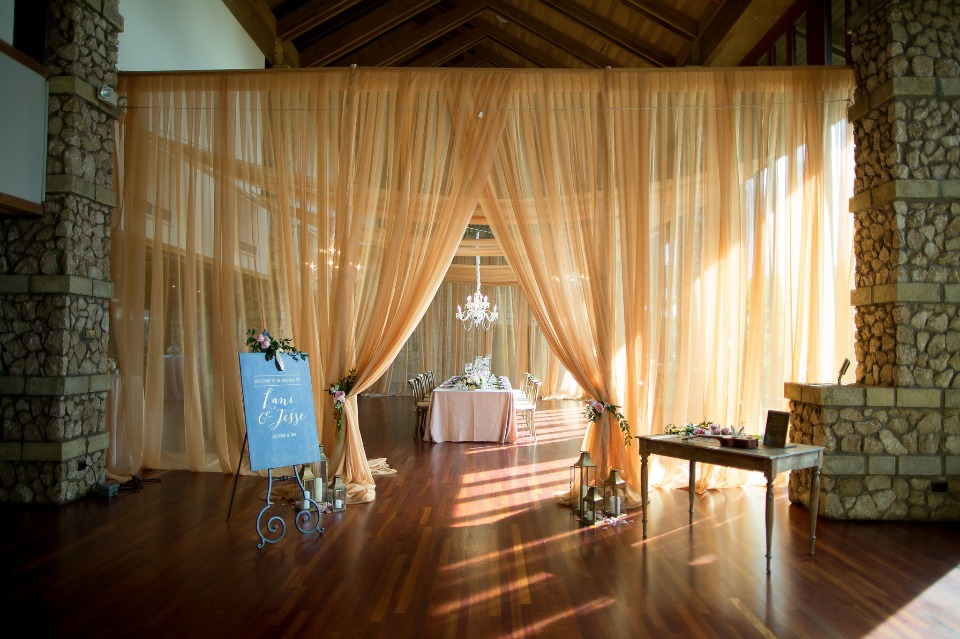 curtained wedding reception