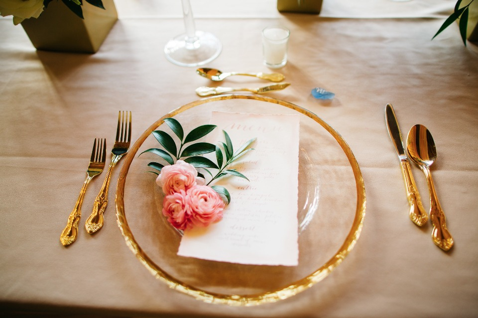 clear and gold wedding place setting