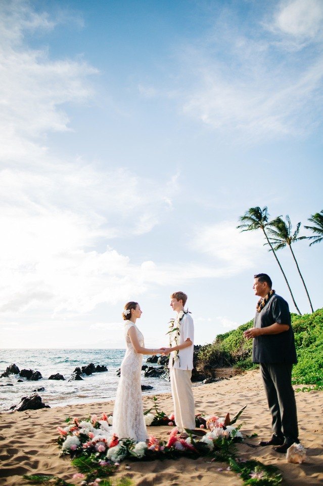 "saying ""I do"" on a beach in Hawaii"