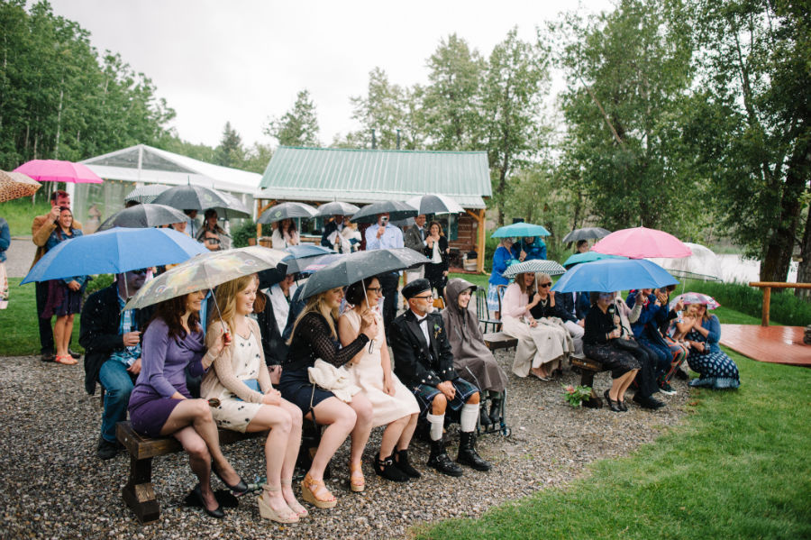 wedding guests under umbrellas