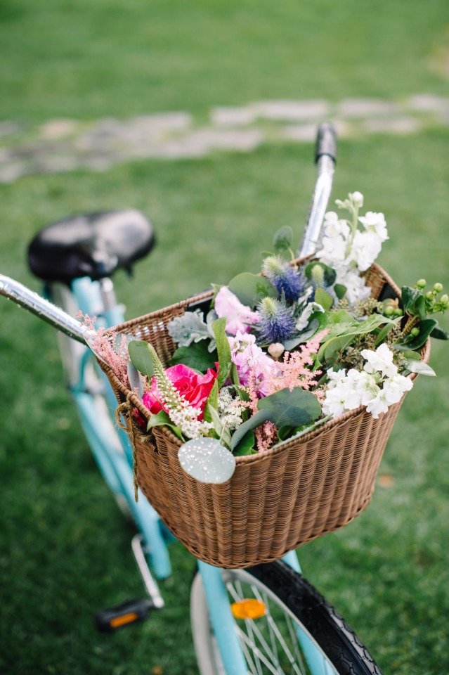 flower filled bicycle basket