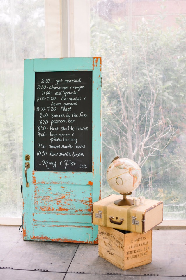 old door chalkboard sign and wedding schedule