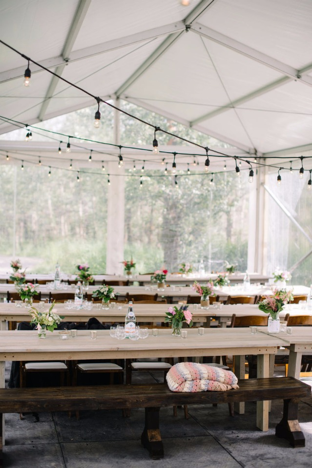 family style seating under a tent