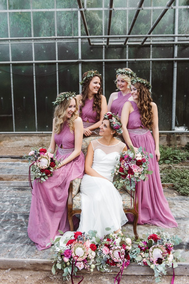 Love these duty pink bridesmaid dresses