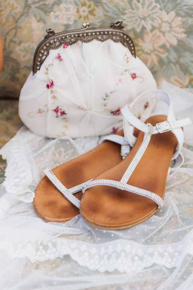 Bridal bag and sandals