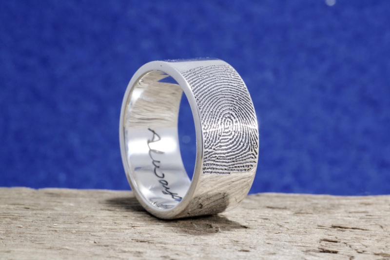 10mm Wide Fingerprint Wedding Ring with Tip Print on the Outside and Your Handwriting on the Interior. Touched by the one you love