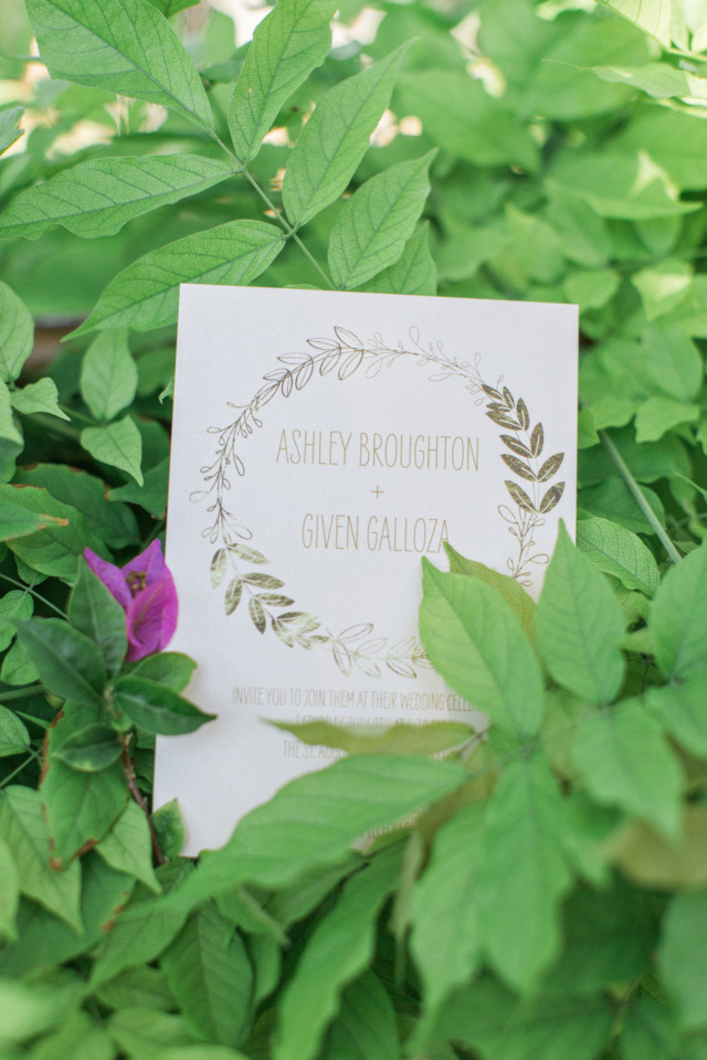 floral halo wedding invite