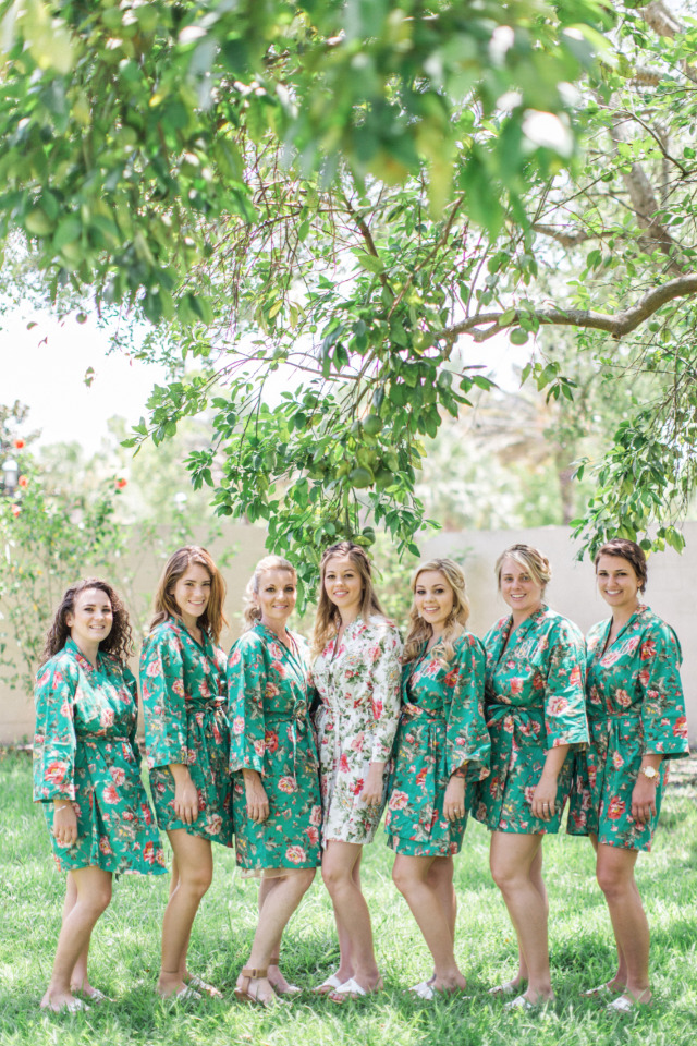 green floral wedding getting ready robes