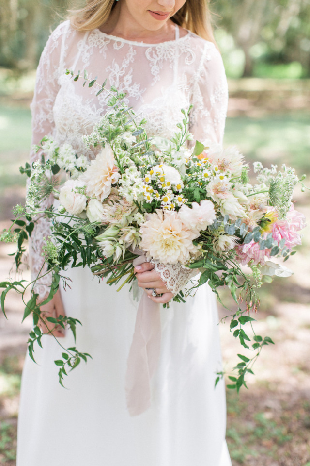 dahlia and wildflower wedding bouquet