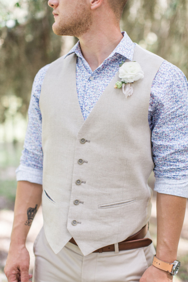 blue and khaki groom with vests