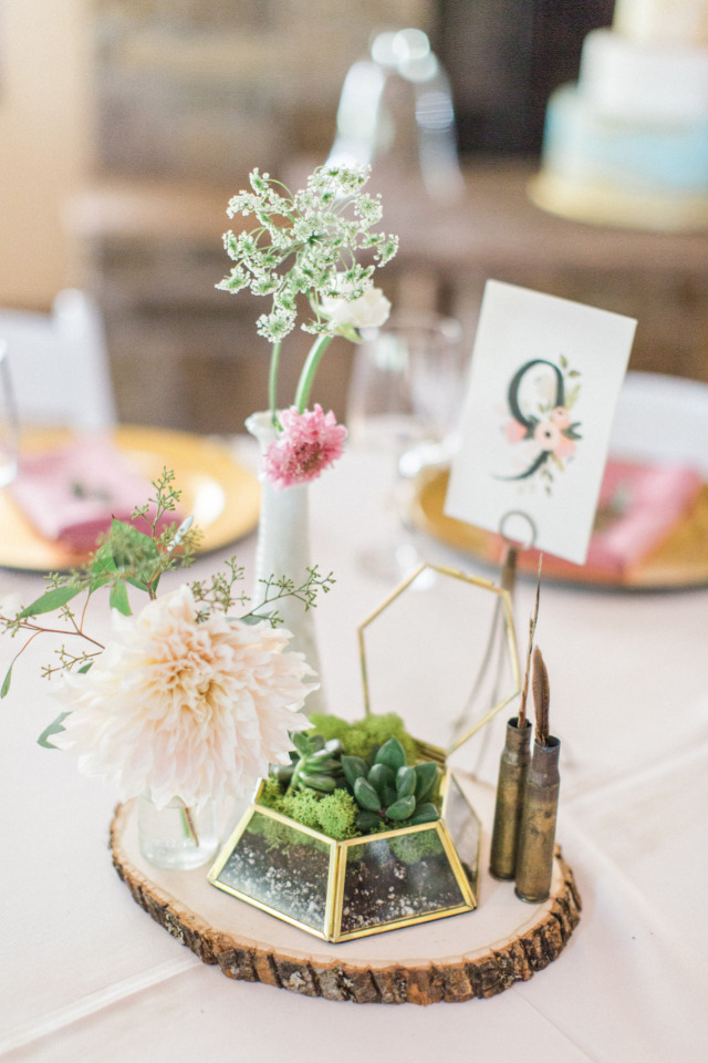simple floral and terrarium centerpieces