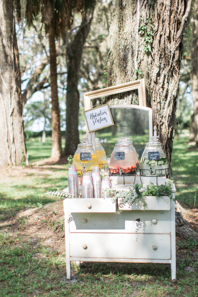 fruit infused water wedding drink station