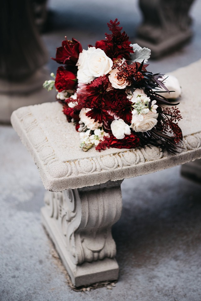Beautiful shades of red wedding bouquet