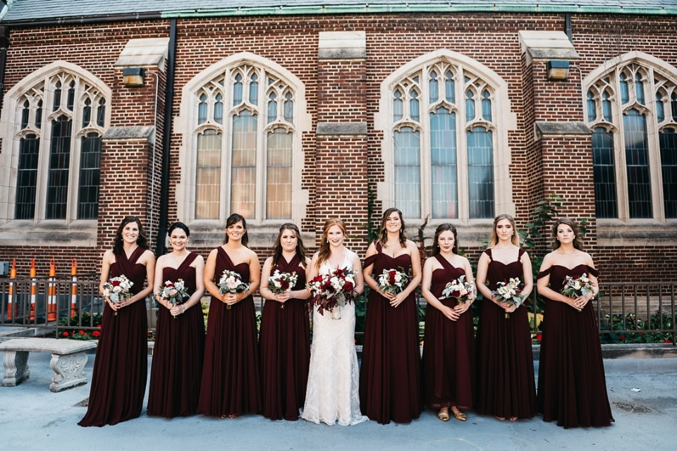 Love these dramatic dark red bridesmaid dresses