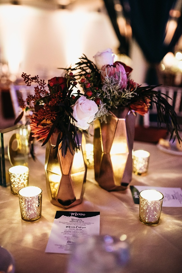 Gold vase centerpieces