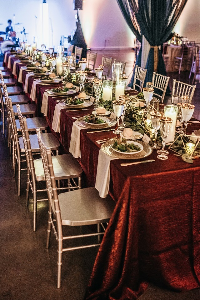 Stylish red and gold reception