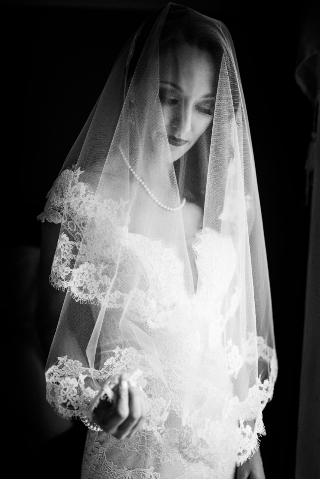 romantic black and white bridal portrait