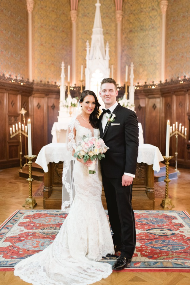 cathedral wedding for this formal bride and groom