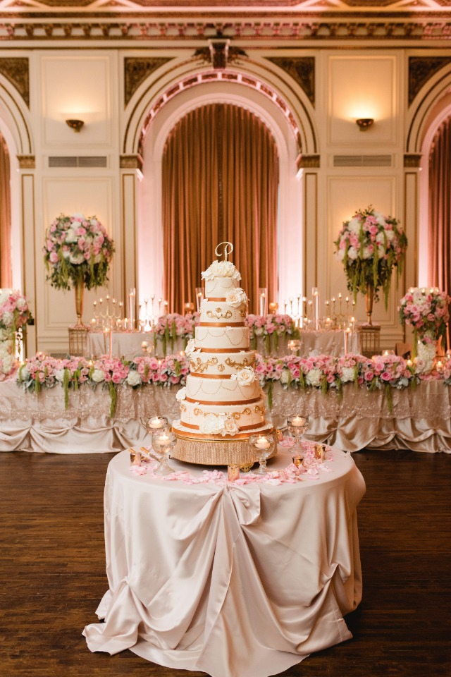 glamorous wedding cake and cake table