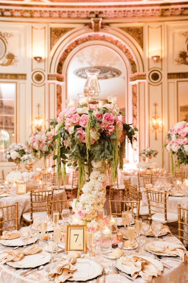 pink and gold glam wedding reception