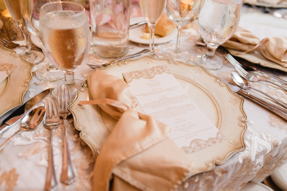 gold and vintage style place setting
