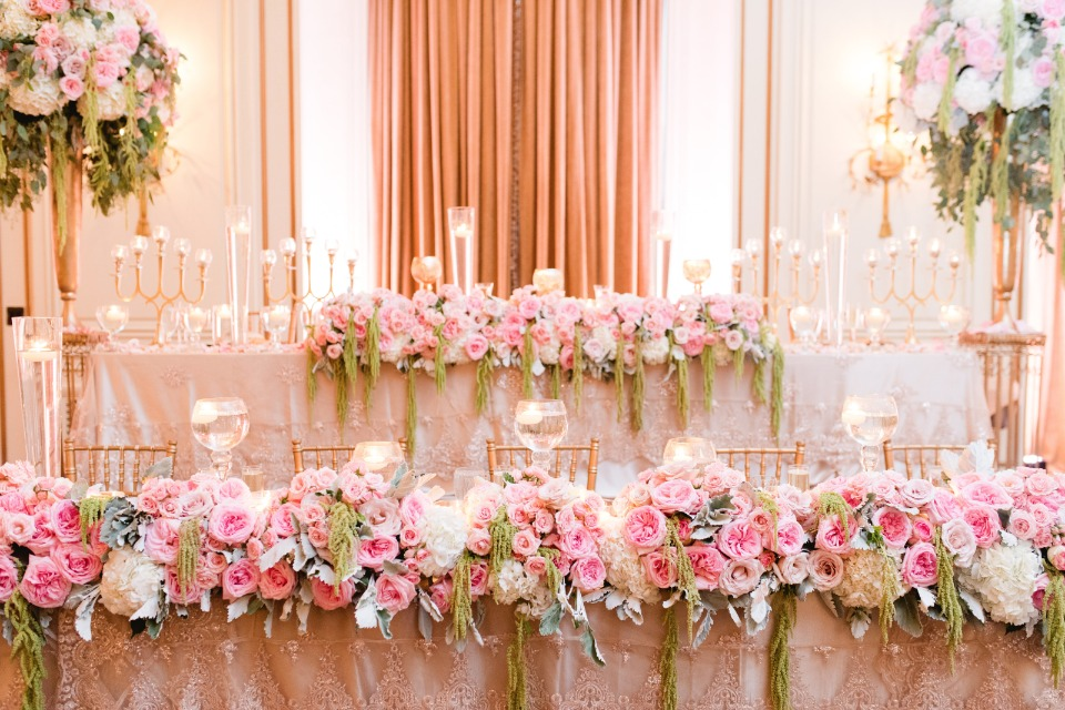glam pink and gold wedding decor