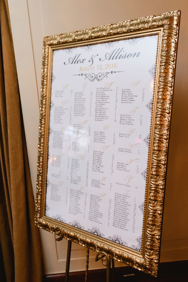 framed wedding reception seating assignment sign