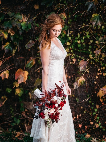 Blog romantic fall red wedding in omaha for Wedding dress rental omaha