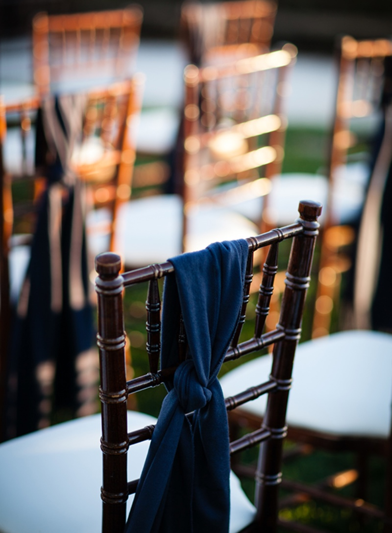 Pashminas on ceremony chairs, just in case guests are chilly. Ceremony on Bacara Resort and Spa Bluff. Event Design & Planning