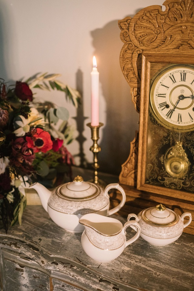 tea set and grandfather clock