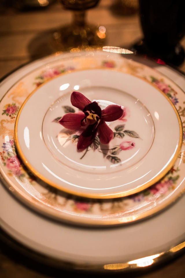 pink and gold wedding china