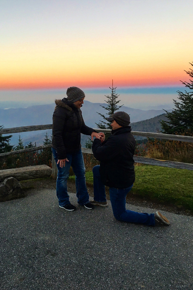 mountain top sunrise engagement ring