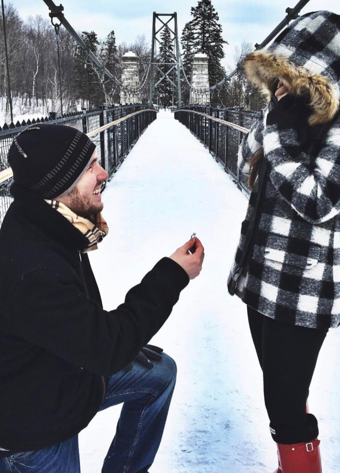snowy surprise engagement ring