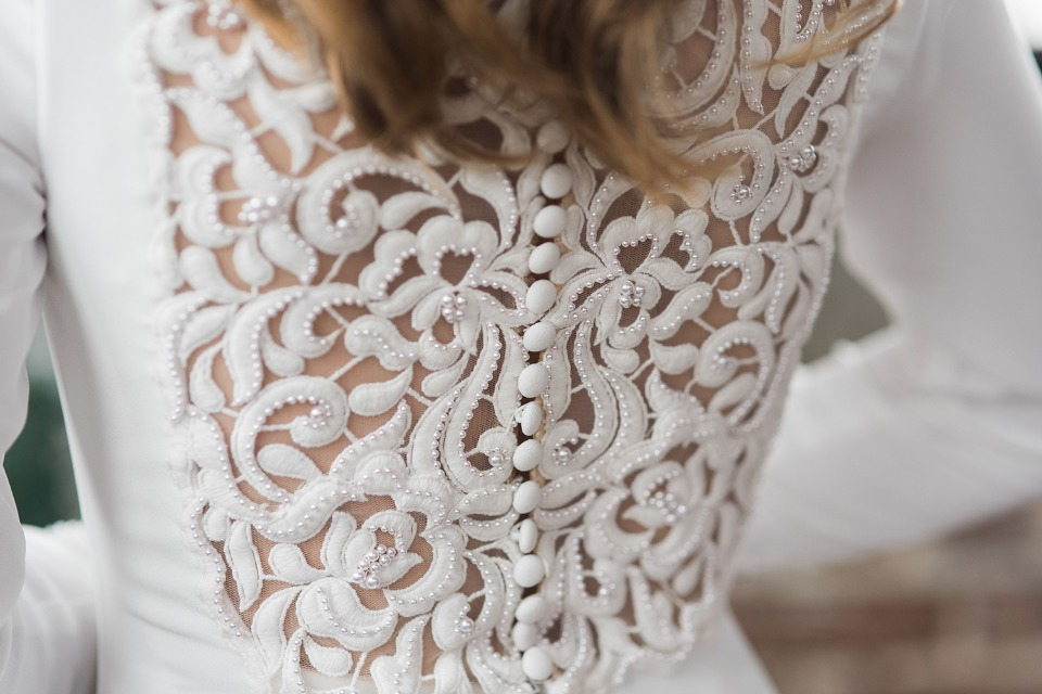 elegant wedding dress back