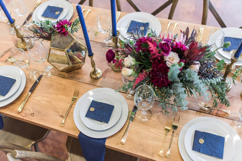 blue and gold modern wedding table
