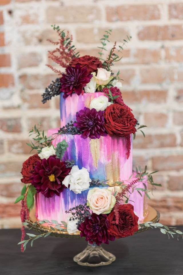 flower topped modern wedding cake