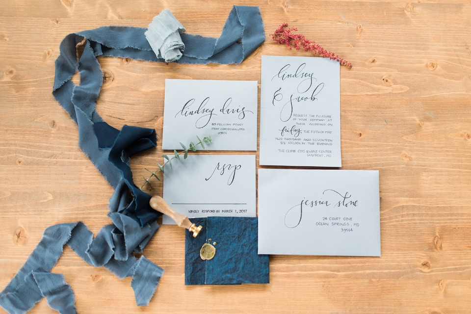 wedding stationery with calligraphy detailing