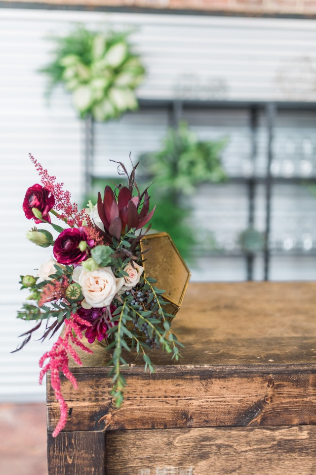 modern burgundy floral arrangement