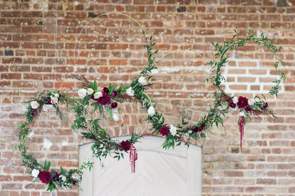 hanging floral wreath wedding decor