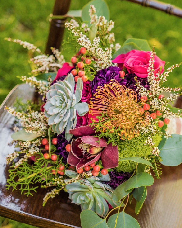 Colorful texture filled bouquet