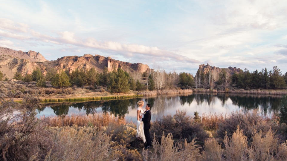 Scenic wedding shot