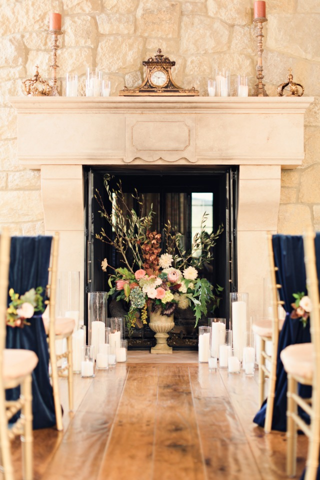 Romantic fireplace ceremony