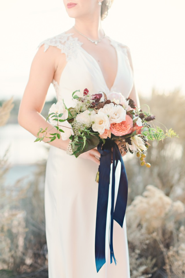 Spring bouquet with navy ribbons