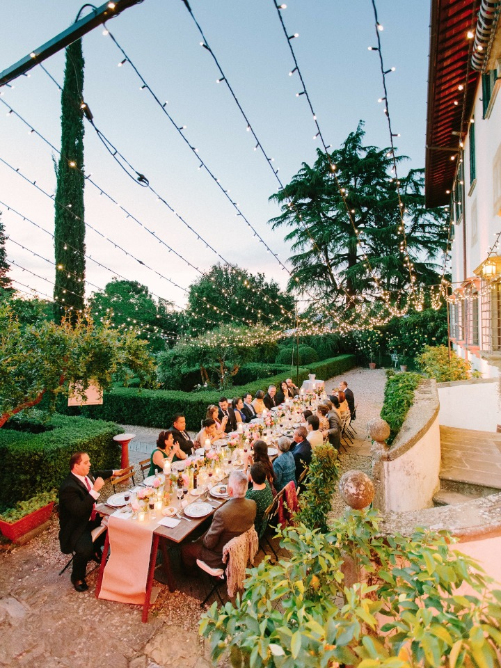 Garden villa reception with twinkle lights