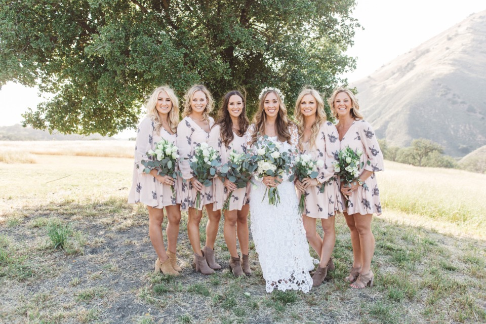 bridesmaids in floral dresses