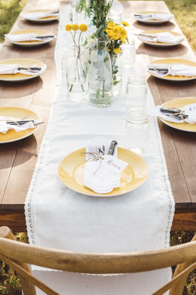white and yellow wedding table decor