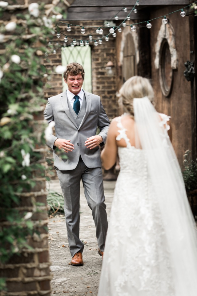 This grooms first look reaction is priceless