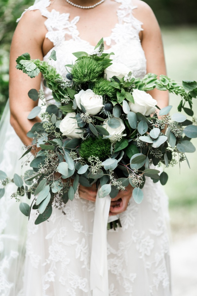 White rose bouquet with loads of greenery