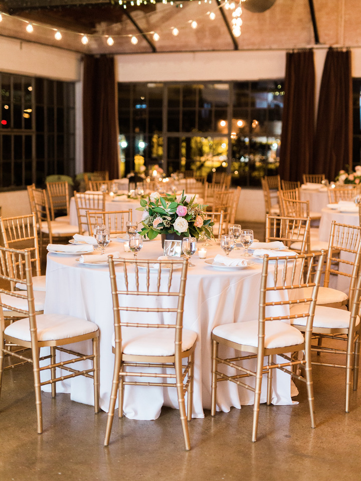 gold and white evening wedding reception