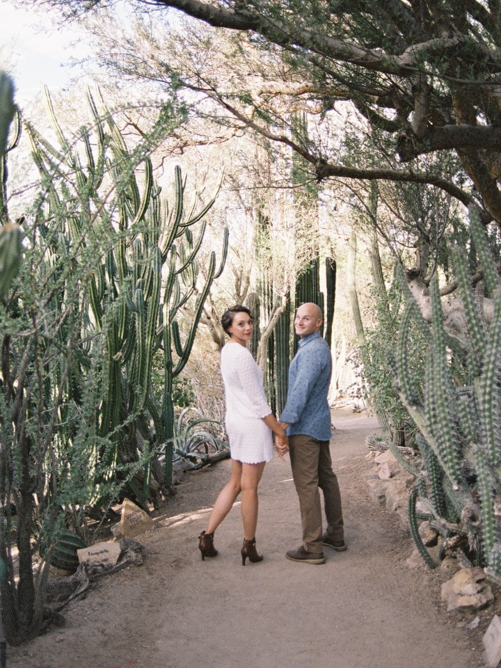 Cactus garden engagement shoot